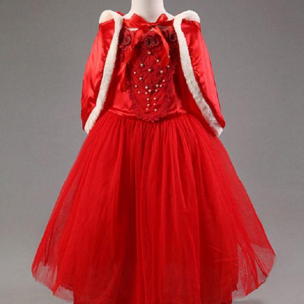 01603christmas-girls-dress-red-blue-princess-costume-with-shawl-girls-dresses-winter-dress