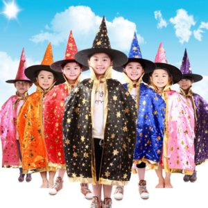 03701-children-halloween-costumes-witch-wizard-cloak-gown-robe-and-hat-cap-stars-fancy-cosplay