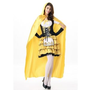13901-halloween-costumes-women-ghost-party-role-playing-witch-cape-yellow-dress-gloves