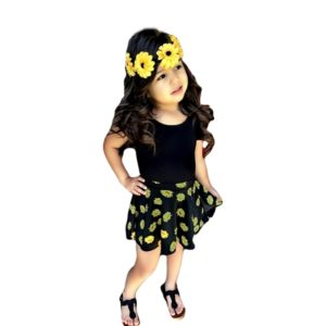 20201-sunflower-printed-skirt-with-tee-girls-fashion-casual-suit-children-clothing-set