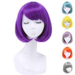87501 Women Short Purple Red Gray Blue BOB Wigs With Bangs 30cm Straight Synthetic Hairs