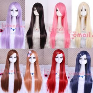 87901 80cm Japan Anime Sarutobi Iris Synthetic Hair Purple Pink Red Bue Brown Long Straight Cosplay Wig