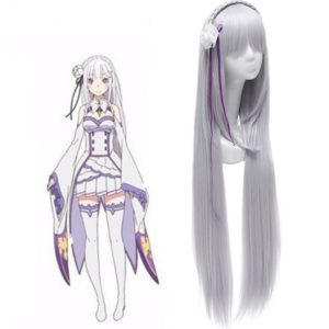88501 Life in a different world from zero Emilia Cosplay Wigs Long Silver Synthetic Hairs