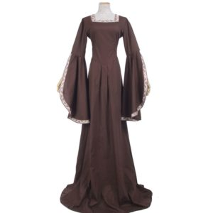 88701 Medieval Renaissance Victorian Dresses Brown Satin Ball Gowns For Ladies Masquerade Queen Costumes