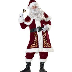 89201 Adults Red Christmas Clothes Santa Claus Costume