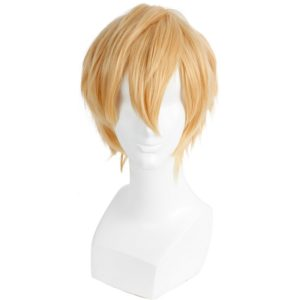 89501 32cm Straight Mens Short Blonde Wig Cosplay