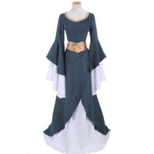 90001 Medieval Renaissance Long Dresses Suede Gothic Evening Dresses