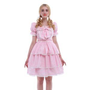 90201 Puff Sleeve Pink Sweet Lolita Dress For Women