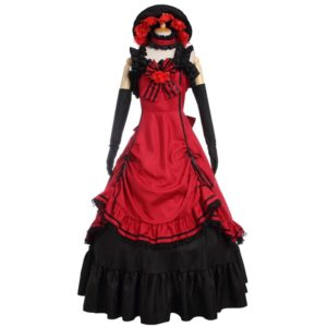 90301 Black Butler Ciel Cosplay Costume Women's Medieval Gothic Long Dresses Red Evening Dresses