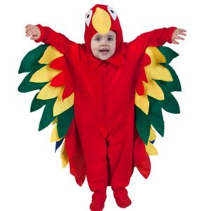 90601 Children Christmas Costume Colorful Red Parrots Jumpsuit Animals Birds Cosplay Costume