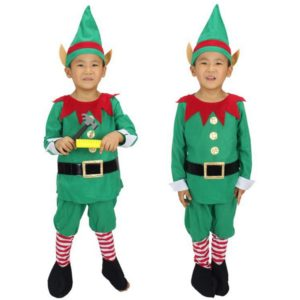 96401 Winter Green Elf Boy Christmas Santa Claus Cosplay Costumes