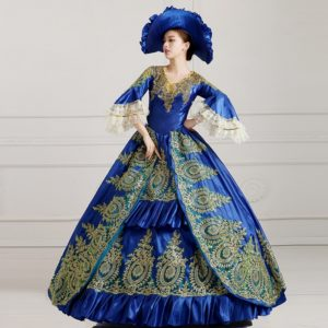 96501 Gothic Victorian Evening Dresses Dark Blue Long Royal Court Palace Costume