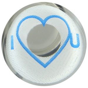 COSTUME COLOR LENS DUEBA COSPLAY LENS BLUE I HEART YOU WHITE HALLOWEEN CONTACT LENS