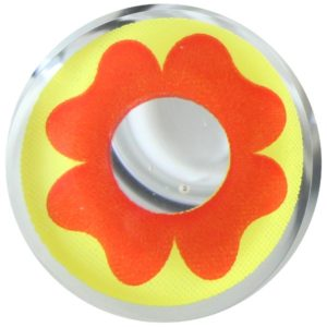 COSTUME COLOR LENS DUEBA COSPLAY LENS RED FLOWER YELLOW HALLOWEEN CONTACT LENS