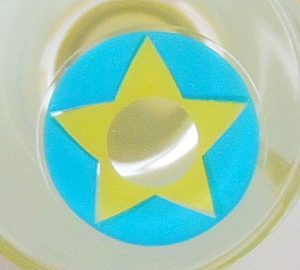 COSTUME COLOR LENS GEO SF-03 CRAZY LENS BLUE & YELLOW STAR TERROR EYES HALLOWEEN CONTACT LENS