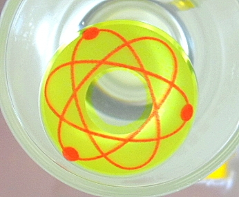 COSTUME COLOR LENS GEO SF-08 CRAZY LENS ATOMIC SYMBOL BRIGHT YELLOW HALLOWEEN CONTACT LENS